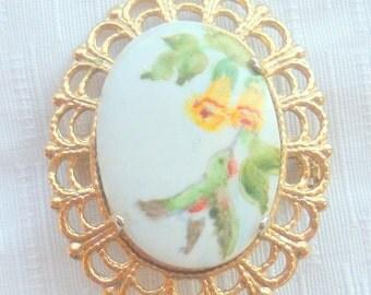 Hummingbird Enamel Brooch Vintage Goldtone Filigree Pin Painted Oval Bird Flowers