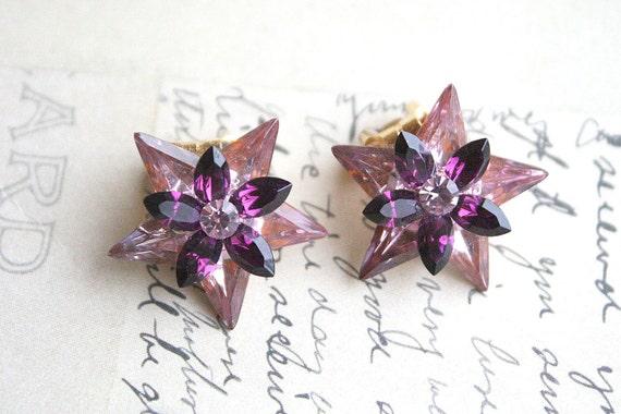 Vintage Amethyst Austrian Crystal Star Earrings Flower Purple Pink Rhinestone Clip