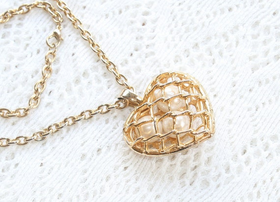 Vintage Puffy Heart  Locket Necklace Pearl Filled Pendant Open Lattice Filigree on Chain