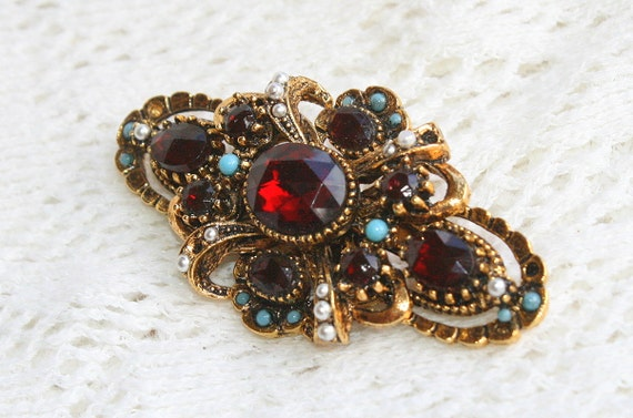 RESERVED for pinkicecream Vintage Red Rhinestone Brooch Pin Antiqued Gold Filigree Dark Ruby Signed ART
