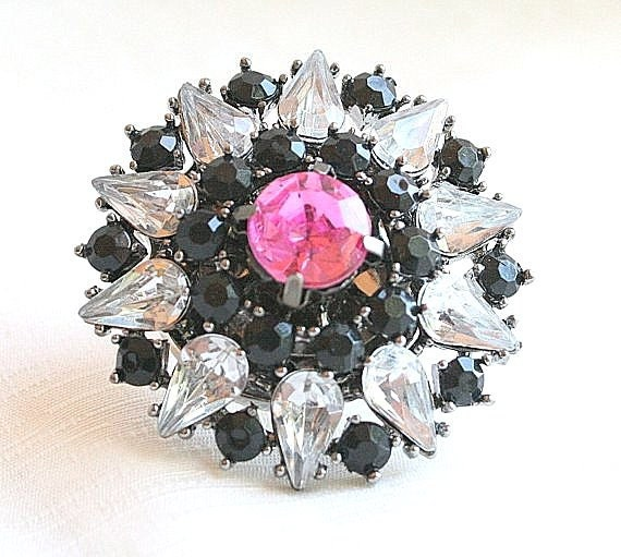 HUGE Rhinestone RING Black Clear & Pink Repurposed Vintage Altered Statement Sparkle