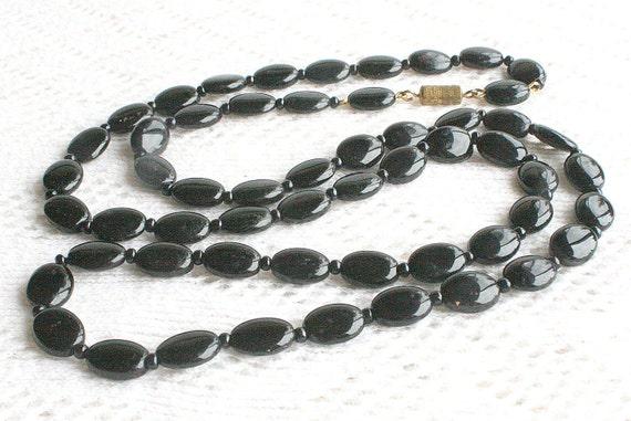 Vintage Black Glass Bead Necklace Flat Oval Beads