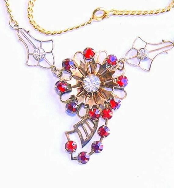 Red Rhinestone Flower Choker Necklace Vintage Filigree Steampunk