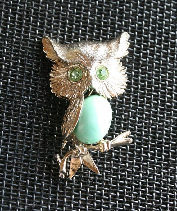 Vintage Owl Figural Brooch Pin Rhinestones Mint Green Lucite Belly