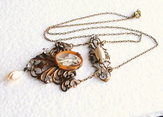 Vintage Art Nouveau Lavalier Necklace Nude Scarf Dancer Intaglio Glass Rhinestones Filigree Baroque Pearl Drop