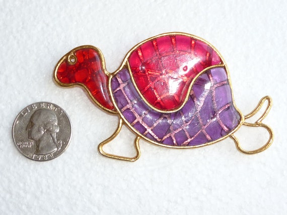 Large Turtle Brooch Vintage Fused Glass Tortoise Figural Pin Colorful Purple Red Gold 1970s
