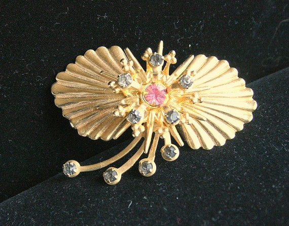 Shell Fan Pendant Brooch Convertible Vintage Shooting Stars Rhinestones