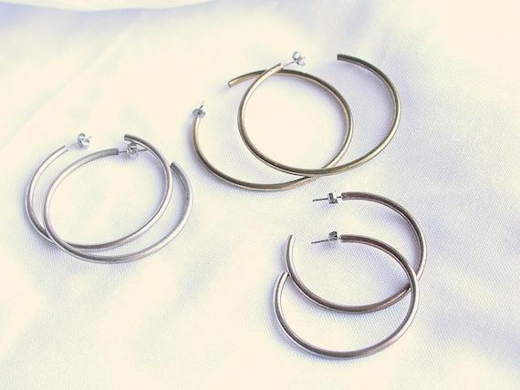3 Pair HOOP EARRINGS Pierced Vintage 1980s Big Brass Silvertone