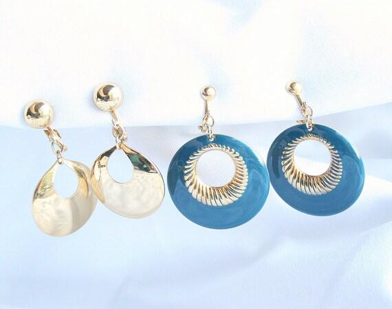 1980s Door Knocker Earrings Lot Two Pair Vintage  Side Hoop Blue Enamel Goldtone Dangle Clip On