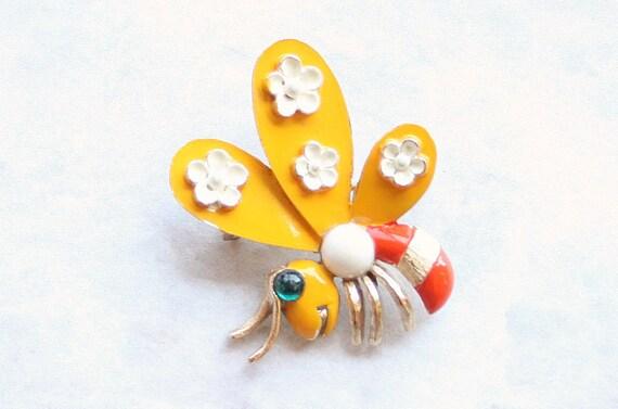 Vintage Groovy 60's BEE FIGURAL Brooch Orange Yellow Enamel Bug Pin Flowers Colorful