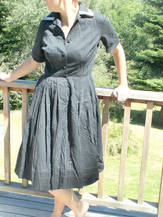 RESERVED for CLEVERNESSOFME Vintage Black Dancing Dress Pleated Wide Skirt for Twirling Handmade