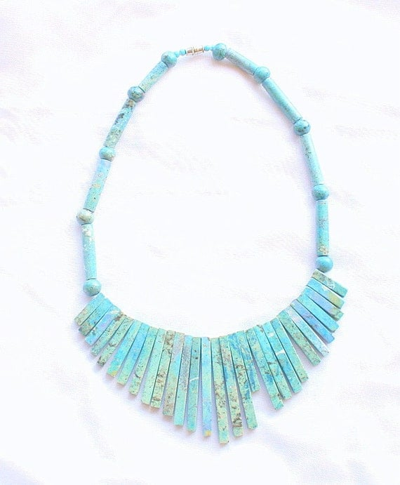Vintage Blue Howlite Tribal Necklace Dyed Turquoise Collar Sticks