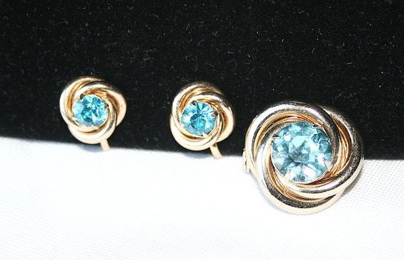 Vintage CORO Aquamarine Blue Brooch Earrings Set 1940s Swirls Wedding Bride Formal