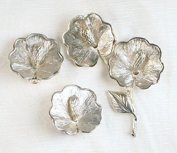 Silver Hibiscus Flower Brooch Earrings Set Vintage Flower Pin