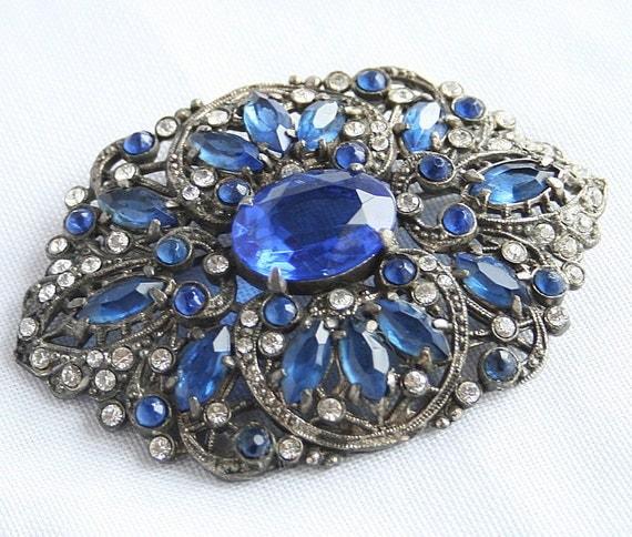 Vintage Blue Rhinestone Brooch Antiqued Silvertone Sapphire Blue Marquis