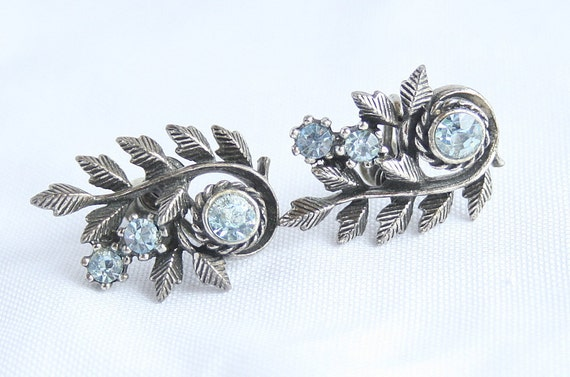 Vintage CORO Blue Silver Earrings Ice Blue Antiqued Silvertone Curving