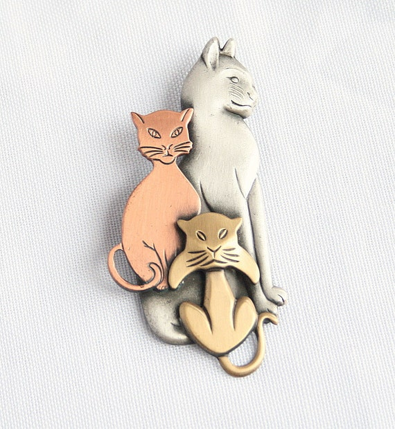 Vintage Cats Figural Brooch Pin 3 Cats Pewter Copper Brass Big Beautiful