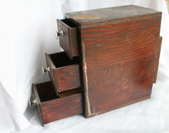 Distressed Wood Box Vintage 3 Drawers Cabinet Chrome Knobs Rustic Reclaimed Shabby