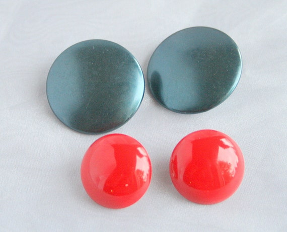TWO Pair Vintage 1950s Bright Button Earrings Lipstick RED and Metallic Teal Blue Clip On