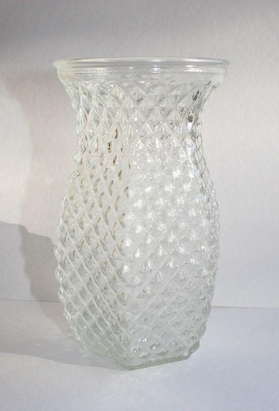vintage hoosier pineapple glass vase clear. Black Bedroom Furniture Sets. Home Design Ideas