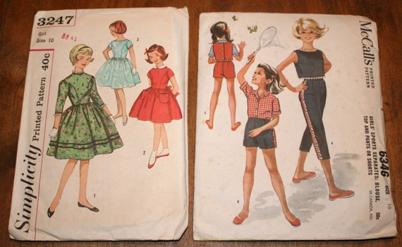 1950s Party Dress Pattern Girls Size 10 Vintage Sewing 2 Patterns Sports Separates Blouse Top Capris Shorts Full Gathered Skirt
