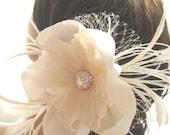 CARLOTTA Silk Feather Flower Fascinator Clip Headpiece with Rhinestone Center