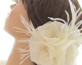 Bridal Accessory Fascinator - HARLOW Couture Silk Triple Rosette & Rhinestone Fascinator in IVORY