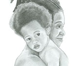 Custom Graphite Pencil Portrait -  Two Subjects- 8 x 10