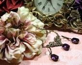 Juliet Amethyst Purple Vintage Necklace n Earring Set Estate Inspired Swarovski Purple Rhinestones