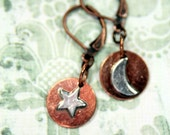 The Moon The Stars In Copper and Sterling Dangle Earrings