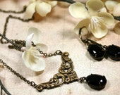 Juliet Vintage Rhinestone Necklace n Earrings Set in Jet Black Swarovski Romantic 1920's Style Art Deco
