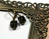 Shadows Black Diamond Vintage Rhinestone Earrings