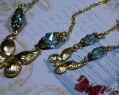 Mommie n ME Sweet Butterfly Necklaces Blue n Gold Smaller and Large Lengths