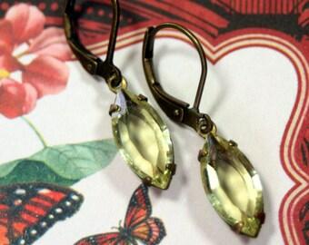 Dancing Sunbeam Yellow Vintage Swarovski Rhinestone Earrings
