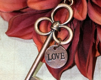 Key To Love Extra Long Copper Necklace Large Key Opera Length