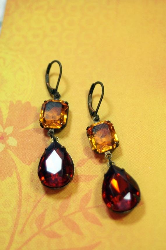 Golden Amber Vintage Rhinestone Stacked Dangle Earrings