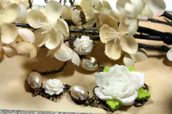 White Wedding Pearls n Roses Vintage Necklace Brides Botanical Affordable Weddings