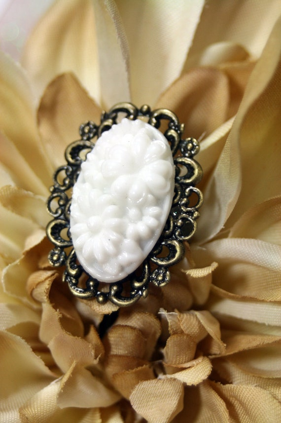In the Moonlight Vintage Molded Glass Antique Brass Adjustable Ring Free Shipping