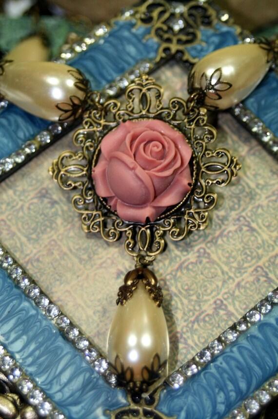 Briar Rose Heirloom Pearl Necklace Cream Rose Vintage Bride
