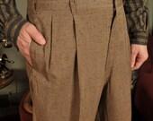 Vintage 1950s SUMMER BARK Brown Slubbed Fleck Hollywood Waist Pants 37W