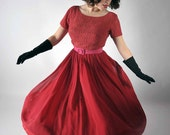 Vintage 1950s Party Dress // The Red Dance Dress