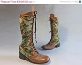 48-Hour Sale - Vintage 1960s Tapestry Boots // Incredible Rare  Lace-up Leather and Tapestry Tall Boots Size 9.5 10