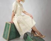 48-Hour Sale - Vintage 1959 Wedding Dress // Custom Made Raw Silk Cocktail Wedding Dress by Philippa Gowns