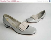 48-Hour Sale - Vintage 1960s Shoes //  The Stewardess NOS Pumps in Gray Vegan Patent Leather 6.5
