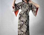 Vintage 1940s Pake Muu // The Singapore Sling Rayon Hawaiian Dress by Malihini