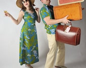Vintage 1960s Hawaiian Honeymoon Set // The Tiki Surf Wedding His and Hers Set with Dress and Shirt