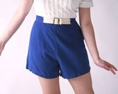 Vintage 1930s Shorts // Blue and White Cotton Sportswear Shorts by Betty Brooks