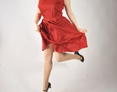 Vintage 1950s Dress // Red Striped Nylon Jersey Day Dress L XL