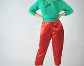 Vintage 1950s Pants // Shiny Red Satin Rockabilly Cigarette Pants