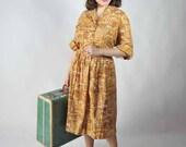 Vintage 1960s Dress // Warm Mustard Yellow Cotton Novelty Print NOS Day Dress  XL XXL